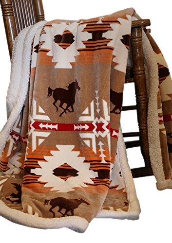Carstens Soft Sherpa Plush Throw Blanket, Free Rein (Horse Throw)