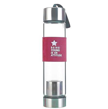 Scrox 1x Botella de té Tea Maker con Bolsa de Nylon, Fitness Yoga, Oficina, té, Viaje Size 240 * 58mm (Color Rosa)