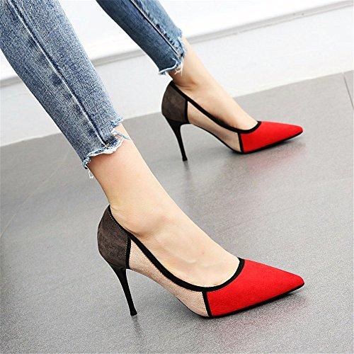 bocca fini lavoro alti donna di tacchi a da YMFIE colore scarpe A con abbinamenti superficiale Elegante da scamosciata temperamento pelle scarpe punta SAAwIRqv
