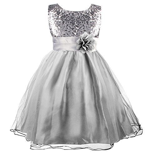 Flower Girl Dress, Acecharming Girls Sequin Mesh Flower Party Wedding Ball Gown Bridesmaid Tulle Ruffle Prom Dress for 2-10 Girls