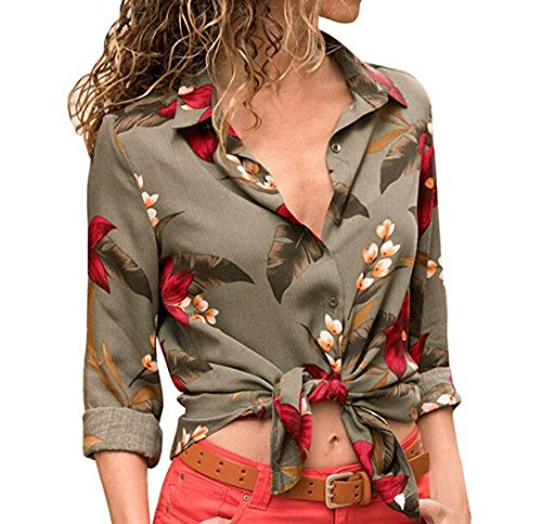 Rambling Women Casual Long Sleeve V Neck Floral Print Button Down T Shirts Casual Blouses Tops (Super Dry Zip Polo)