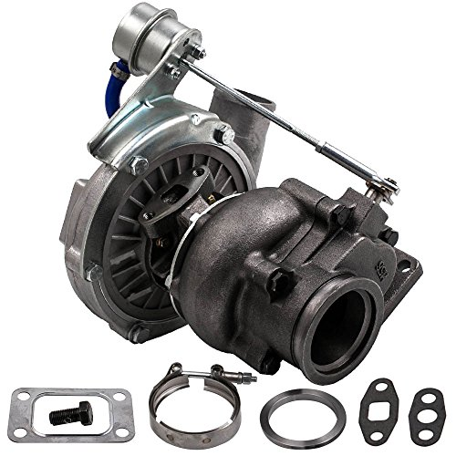 (maXpeedingrods T04E T3 T4 T3/T4 Universal Turbo Turbocharger with V-Band Flange, 0.63A/R T3 T4 4 bolt Turbocharger Up 420HP, Oil Cooled Internal Wastegate Turbo Charger for all 2.0-3.5L Engine)
