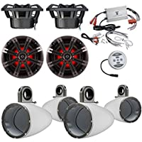 Car Speaker Package With Amp: 4x Kicker 41KM84LCW 8 Coaxial Marine Boat LED Light Speaker Bundle Combo With 4x Kicker 8 Inch White Wakeboard Tower Enclosures +1200 Watt Bluetooth 2-Channel Amplifier