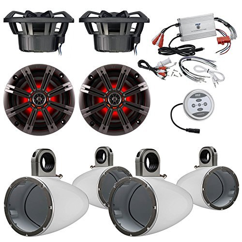 Car Speaker Package With Amp: 4x Kicker 41KM84LCW 8