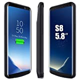 Galaxy S8 Battery Case, ICONIC 5000mAh Rechargeable Charging External Battery S8 Type C Case Backup Pack Juice Recharger Charger Power Bank Cover for Samsung Galaxy S8 (Black 2017)