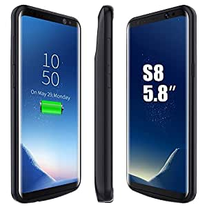 BrexLink Galaxy S8 Battery Case, 5000mAH Fast Charging Rechargeable External Battery Pack with LED Indicator, USB Type C Compatible, Slim and Compact Power Bank for Samsung Galaxy S8 (Black)