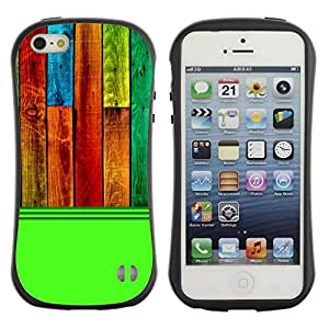 Fuerte Suave TPU GEL Caso Carcasa de Protección Funda para Apple Iphone 5 / 5S / Business Style Wood Texture Pattern Green Colorful