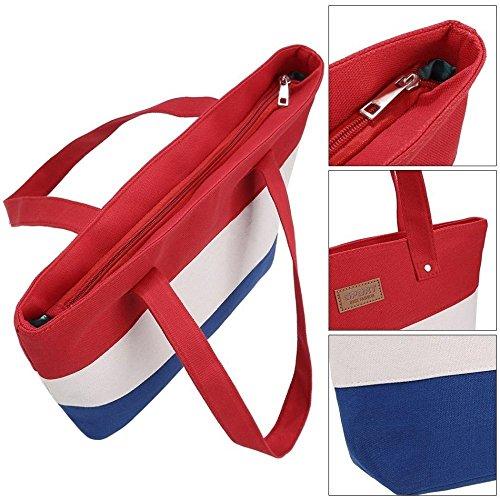 Handbag Color Canvas Tote Capcity Bags Casual Women Shoulder Contrast Large Stripe qUtYq1Aw