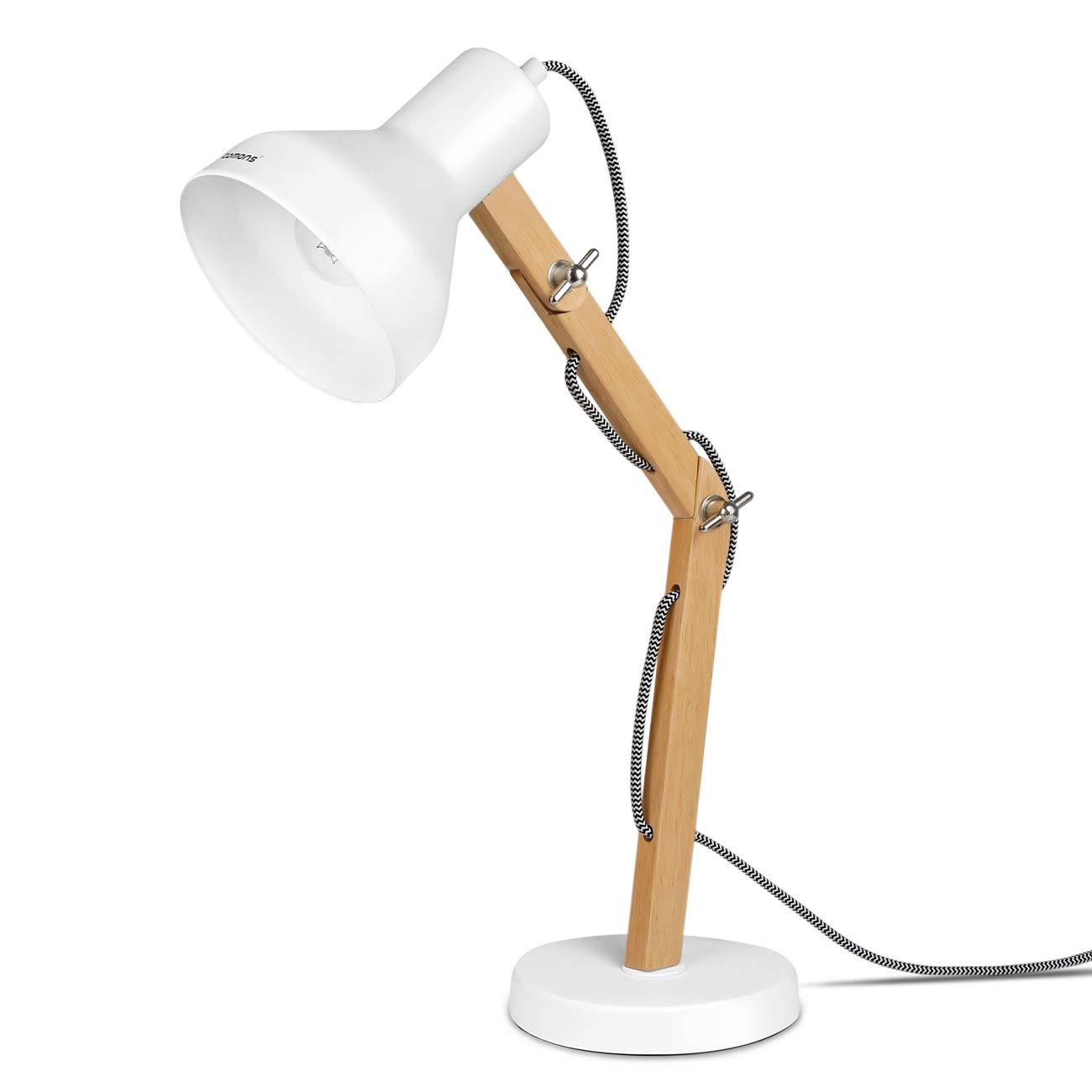 Tomons Wood Adjustable Head Desk Lamp, Designer Table Lamp, Reading Lights, Study Lamp, Work Lamp, Office Lamp, Bedside Nightstand Lamp – White