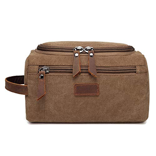 Mini Grip Bag (SUPBOTU Travel Toiletry Bag for Men Canvas for with Leather Trim Mini Shaving Dopp Kit Makeup Organizer (Coffee))