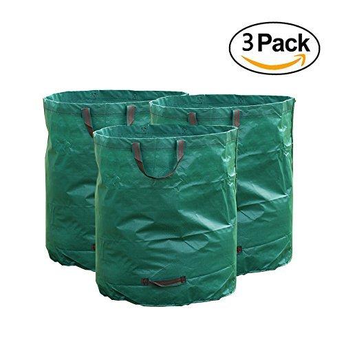 Rainleaf 3 Pack Reuseable Heavy Duty Garden Bags, 72 Gallons - Reuseable Gardening Leaf Waste Bags by RainLeaf