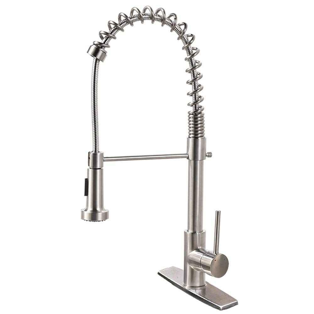 Commercial Kitchen Faucet, HIPPIH Dual Functions Single Handle Lead-free Kitchen Sink Faucet, Pull down Pull Out Sprayerhead with 2 Flows, Deck Mounted Included
