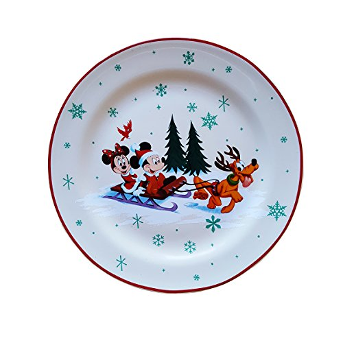 Disney Parks Mickey Mouse and Friends Christmas Holiday Dessert Plate