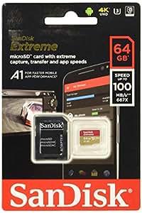 SanDisk 64GB Extreme microSDHC and microSDXC UHS-I Cards - 4K UHD, C10, U3, V30 - SDSQXAF-064G-GN6MA