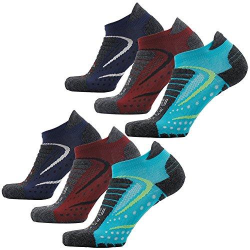Facool Mans Mens Stylish Ahthletic Mid Crew Zone Cushion Quarter Socks for Marathon Hiking Running Basketball Assorted 6 Pairs