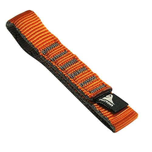 Black Diamond Nylon Dog Bones - Fusion Climb Quickdraw Runner Military Tactical Edition Stitched Loop Nylon CE UIAA Certified Webbing 12cm x 1.9cm Orange/Gray