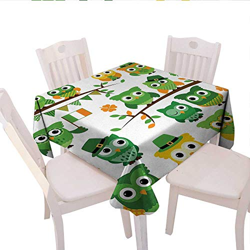 haommhome St. Patricks Day Plaid Tablecloth Irish Owls with Leprechaun Hats on Trees Shamrock Leaves Horseshoe Wedding Banquet Tablecloth 70
