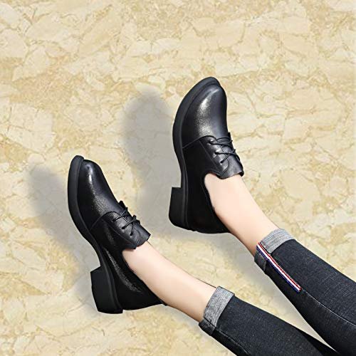 Leather Trente The The Up Shoes of pour Femmes Lace Autumn Neuf Head in Round Black KPHY are Chaussures qgZ4wYY