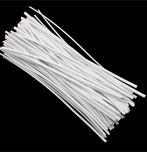 SumDirect 1000Pcs 4 Inches Plastic Twist Ties for Party Cello Candy Bags Cake Pops (White)
