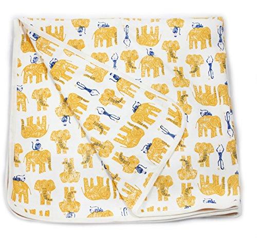 Viverano Organic Cotton Soft Reversible Baby Blanket. Natural Receiving Blankets (Yellow Elephants & Monkeys)