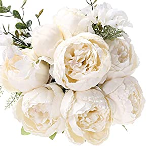 Uworld Artificial Flowers Silk Plastic Fake Peony Flower Vintage Peonies Bouquet DIY Wreath for Home Wedding Centerpieces Décor (Ivory) 32