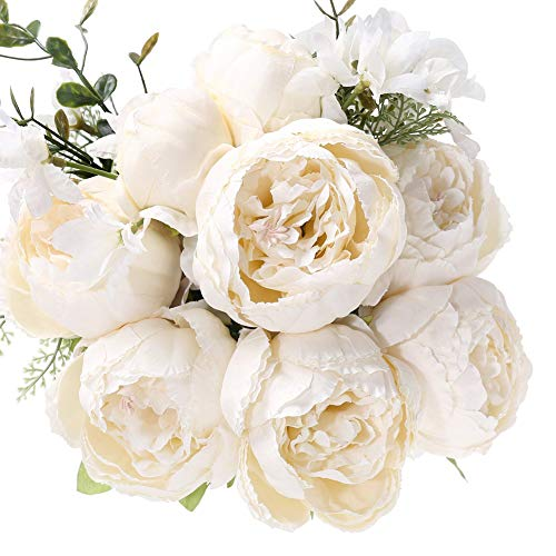 Uworld Artificial Flowers Silk Plastic Fake Peony Flower Vintage Peonies Bouquet DIY Wreath for Home Wedding Centerpieces Décor (Ivory) ()