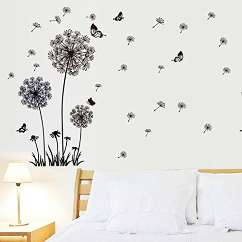 EMIRACLEZE Christmas Gift Black Dandelion Butterfly Fly Removable Mural Wall Stickers Decal for Living Room Home Wall Decor