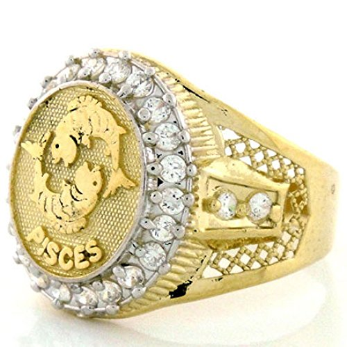 10k Solid Yellow Gold Mens Zodiac CZ Ring - Pisces - Size 10.50