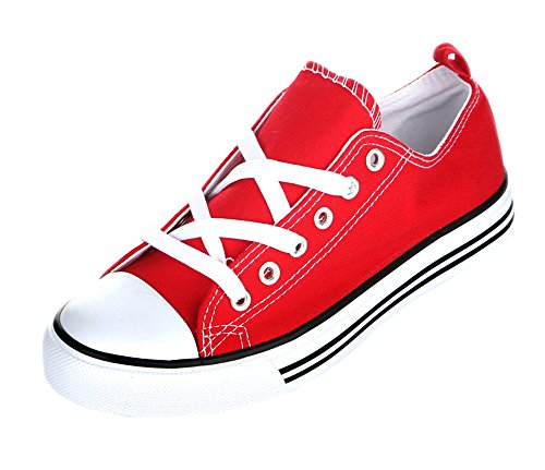 Kids Tie up Slip on Canvas Sneakers with Laces for Children- Girls and Boys (10 Toddlers, Red)