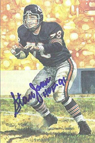 Stan Jones Autographed/Signed Chicago Bears Goal Line Art Card Blue HOF 11905 - Original NFL Art and Prints