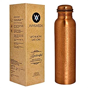 AAYUVEDA® Handcrafted Floral Engraved Design 100% Pure Copper Water Bottle, 1 Litre Set of 1