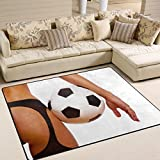 XiangHeFu Area Rugs 5'3'' x4' (63x48 Inches) Sexy Girl With Soccer Ball Football Doormats Mat Personalized Soft Carpet Mat for Living Dining Room Bedroom Home Decorative