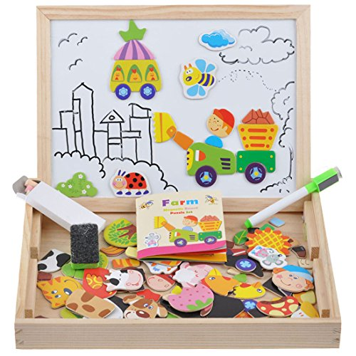 Wooden Toy Magnetic Dry Erase Board Puzzles 100 Pieces Games, Satu Brown Double Face Jigsaw& Drawing Easel Chalkboard Popular Educational Learning Toys (Farm) (Cars 2 Board Games)