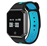 LJXAN Smart Bracelet Heart Rate Blood Pressure Blood Oxygen Waterproof Strap Detachable Bluetooth Sports Watch Bracelet Fitness Running Tracker,Blue