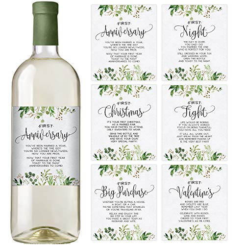 Greenery Wedding First Wine Bottle Labels, Set of 6 Waterproof Wine Bottle Labels, Wedding Gift, Marriage Milestones, Wedding (Wedding Wine Bottle Labels)