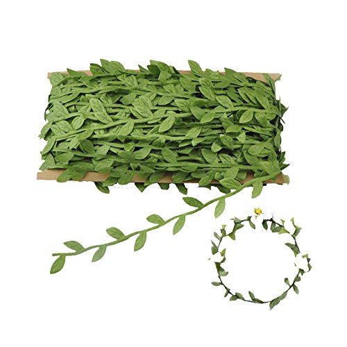 Green Flower Trim - Green Leaf Trim Ribbon, 44 Yard Artificial Vines for DIY Craft Party Wedding Home Decoration