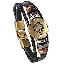 Hamoery Punk Alloy Leather Bracelet For Men Constellation Braided Rope Bracelet Bangle Wristband