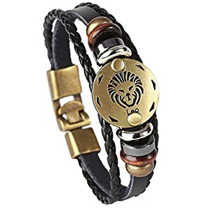 Best Epic Trends 51PVwwYvj2L._SS300_ Hamoery Punk Alloy Leather Bracelet for Constellation Braided Rope Bracelet Bangle