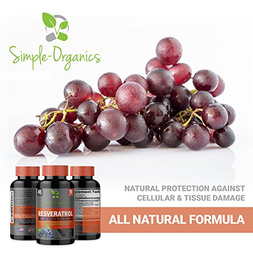 51PVx3NiznL - Resveratrol 1600mg per Serving- 100% Organic, Pure Extra Strength Complex with Organic Trans-Resveratrol - Anti-Aging, Radiant Skin, Blood Sugar and Immunity Support- 45 Day Supply