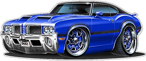 Graphic Wall Car - 1970 Olds 442 WALL DECAL 2ft long Reusable Movable 70s Classic Cars America Vintage Vinyl Print Stickers