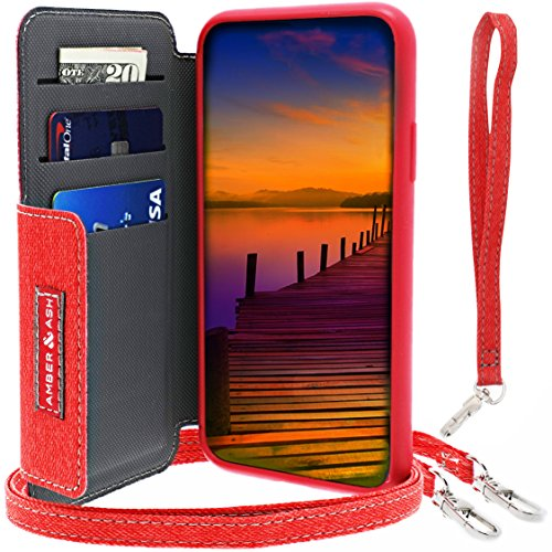 Mimi iPhone X Crossbody Folio Wallet Case, AMBER & ASH Hybrid TPU Rubber Heavy Duty Protection Card Holder Case 4 Feet Strap, Multi-view Stand, Magnet Closure Wireless Charging, Red - Amber Wallet