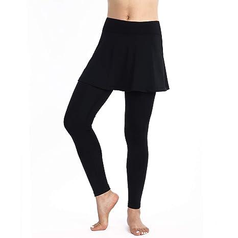 ANIVIVO Leggings de Tenis con Falda para Mujer 2482190-Allblack-S ...