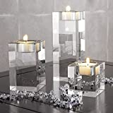 centerpieces with candles DecentGadget Heavy Clear Crystal Tea Light Holder Cuboid Candle Holder for Party Ceremony Wedding Centerpiece Home Decoration (1.6+2.4+3.2'')