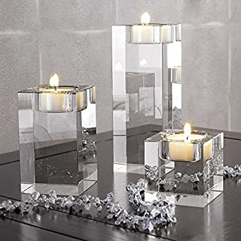 DecentGadget Heavy Clear Crystal Tea Light Holder Cuboid Candle Holder for Party Ceremony Wedding Centerpiece Home Decoration (1.6+2.4+3.2'')