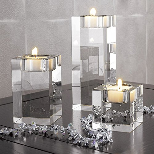 (DecentGadget Heavy Clear Crystal Tea Light Holder Cuboid Candle Holder for Party Ceremony Wedding Centerpiece Home Decoration (1.6+2.4+3.2'') )