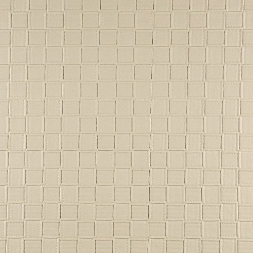G657 Cream Basket Woven Look Upholstery Faux Leather by The Yard