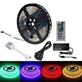 Yeahplus Upgrade IP68 Used under Water LED Strip Strip Light,16.4ft/5M 300 leds Black PCB 5050 RGB Underwater+44key IR Remote+6A Power Adapter
