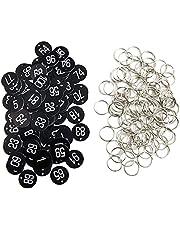 Sourcemall Plastic ID-nummerlabels sleutelhangers met sleutelhangers (101-200, zwart)