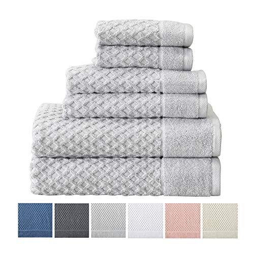 6-Piece Towel Set. 100% Cotton Bathroom Towels. Absorbent Quick-Dry Textured Towels. Set Includes 2 Bath, 2 Hand, and 2 Wash. (6 Piece, Light Grey) (Elegant Bathroom Sets)