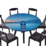 large 18 x 57 ironing board - Round Table Tablecloth Sunrise Over Water Lakehouse Cabin Boardwalk Sunlight Clouds Horiz Nature for Daily use, Wedding, Restaurant 55